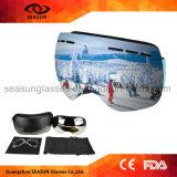 Lunettes duelles de ski de neige de lunetterie de Snowboard de lentille de regain d'hiver de bâti flexible adulte des sports TPU anti