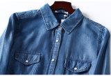 Качественный продучт! Мягкая и скользкая материальная Long-Sleeved рубашка джинсовой ткани джинсыов женщин