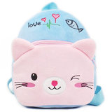 明るいピンクの柔らかいプラシ天猫のおもちゃ袋