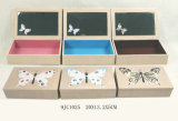Vintage de madera MDF con cajones joyero de la mariposa