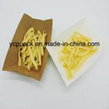Verde y caja de papel desechables envases de alimentos de la bandeja de patatas fritas chips