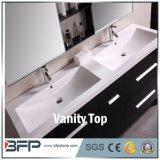 Projeto de mármore branco das partes superiores da vaidade do banheiro/partes superiores de pedra do banheiro