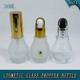 1oz 30ml effacent la bouteille en verre givrée de compte-gouttes d'huile essentielle cosmétique