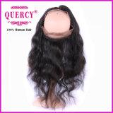 Перуанский Frontal шнурка волос 360 объемной волны Remy девственницы