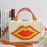 2017 New Style Lady Straw Bag avec Lip Hot Selling Box Sac à main Sac à bandoulière T110