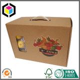 플라스틱 손잡이 광택 있는 원색판화 골판지 판지 상자