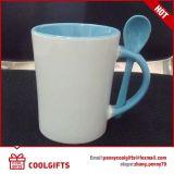 Caneca de café cerâmica vitrificada com colher