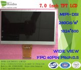 7.0 Duim 1024X600 Mipi 40pin 280CD/M2 Draagbare DVD/MP5 Dunne TFT LCD