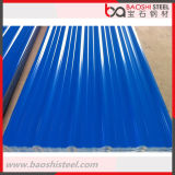 Hoja de acero acanalada galvanizada PPGI del material para techos