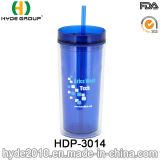 わらが付いている16ozによってカスタマイズされる二重壁のプラスチック飲むコップ