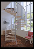 Neuer Entwurfs-hölzernes gewundenes Treppenhaus/Innenstahltreppe