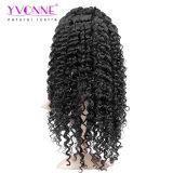 Yvonne 흑인 여성 자연적인 색깔을%s 큰 꼬부라진 Virgin 사람의 모발 레이스 정면 가발은 출하를 해방한다