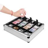 Dinero del efectivo de 8 compartimientos y cajón de aluminio grandes del almacenaje de la moneda