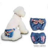 Джинсыы Bowtie ставят точки кальсоны одежд любимчика шнурка для женских собак
