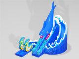 Diapositiva de agua inflable del diseño del delfín para el partido del tema