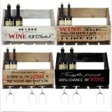 Het houten Muur Opgezette Rek van de Staaf van het Huis van de Houder van de Fles van de Wijn & van de Opslag van Glazen Uitstekende