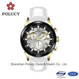 Relógios automáticos de homens mecânicos do Wristband do couro genuíno do tipo luxuoso dos homens dos relógios