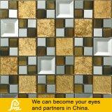 금속과 미러를 가진 황금 벽 종이 모자이크