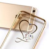 二重林の小型愛中心のきらめきのラインストーンのダイヤモンドはiPhone 5sのためのゴム製めっきフレームTPUカバーを取り除く