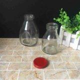 frasco vazio de vidro da bebida do leite do suco de 250ml 450ml com a tampa do estanho do metal