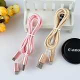 1m Nylon Coberto 8pins Cabo USB 2 em 1 para iPhone6 ​​6plus 5 5s iPad Mini iPod