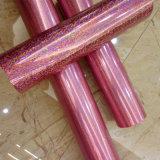 Impresión de Transferencia de color rosa Estampado en caliente de la lámina de láser para la seda