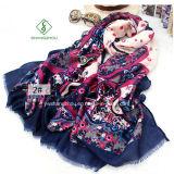 Nouvelle écharpe Lady Satin Sillk de mode design avec châle imprimé
