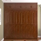 Дешевый шкаф спальни просто конструкции цены твердый деревянный (GSP9-018)