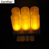 Della candela di 2017 colore giallo ricaricabile 6PCS più calda LED