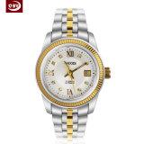 Exakte Frauen-weiße große Vorwahlknopf-Edelstahl-Armbanduhr