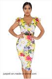 Encolure en V de la femme volant imprimé floral Bodycon plus taille robe de fête