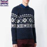 Men's pur cachemire tricoté Crew Neck Pull Pull Intarsia cavalier de conception pour l'homme