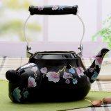 良質の黒の花のDecaleの茶鍋のナシの形のエナメルのやかん
