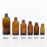 Flacon compte-gouttes en verre ambré de l'huile essentielle de l'emballage avec bouchon à vis ou compte-gouttes