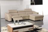 Sofá de cor bege e sofá de canto de couro Chaise de armazenamento