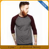 Le coton des hommes faits sur commande 3/4 T-shirt de chemise de Raglan