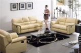 黄色いカラー現代デザイン革リクライニングチェアのソファーセット