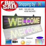 P10 RGB Outdoor pleine couleur LED Display Programmablefor LED signes Taille 39X8 pouces LED Scrolling Inscription Babillard
