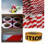 赤くおよび白いロゴプリントケーブルのPEの注意はテープに警告する