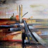 Paesaggio astratto su pittura a olio