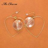 White Pearl acrylique coeur creux plaqué or Drop Earrings