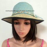 100% бумаги соломенной шляпе, Мода Контраст Col с ткацкой / Mteal / Style Струнный