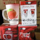 Caneca de copo de vidro de decalque agradável para café e chá