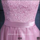 레이스 Tulle 신부 들러리는 3/4명의 소매 아플리케 여자 신부 들러리 가운을 옷을 입는다