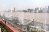 Grande fontaine de musique près du fleuve dans Lanzhou