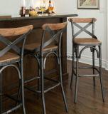 アメリカ、錬鉄木、余暇の椅子レトロ棒椅子および表の余暇の喫茶店のレストラン棒高い椅子(M-X3464)