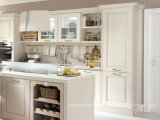 Amerikanische Art-Küche-Möbel-weißer festes Holz-Küche-Schrank
