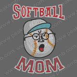 Bling Softball Mom Rhinestone fer sur le transfert pour T-shirts