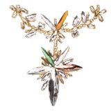 Collier en cristal de rapport de fleur de maxi de foulard d'Instagram de Rhinestone gemme volumineuse de collier