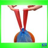 Sachets en plastique de HDPE, sacs de bourrage, sacs d'ordures de cordon